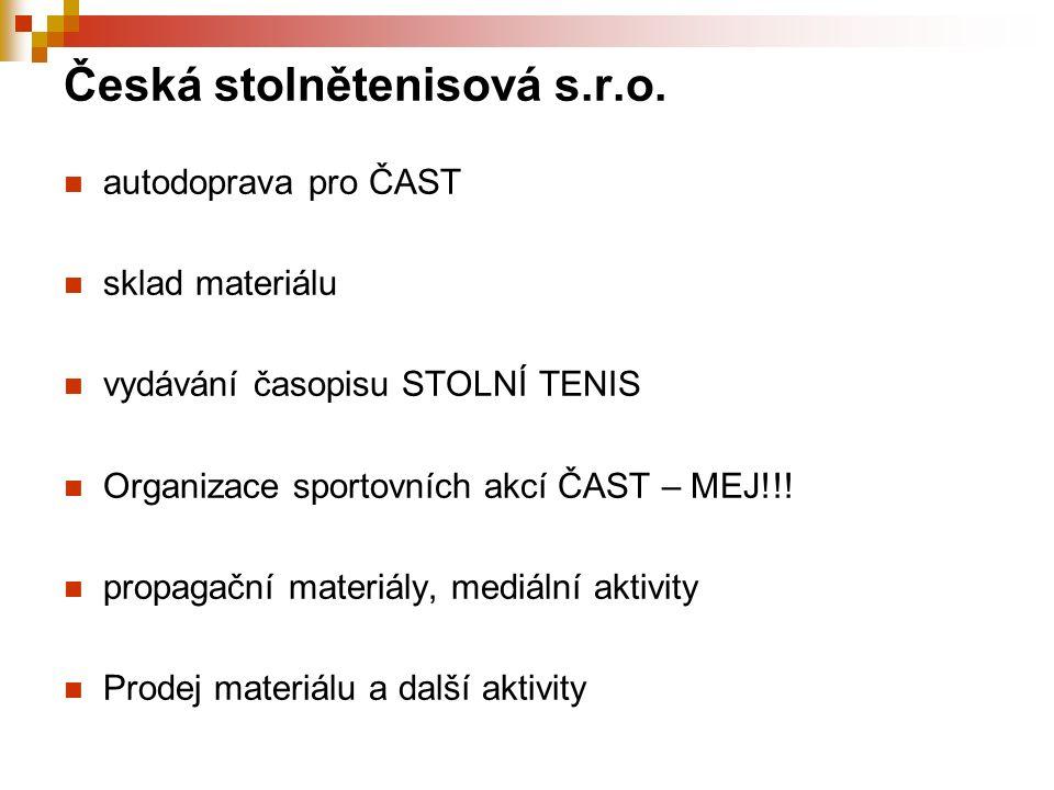 Česká stolnětenisová s.r.o. autodoprava pro ČAST sklad materiálu vydávání časopisu STOLNÍ TENIS Organizace sportovních akcí ČAST – MEJ!!! propagační m