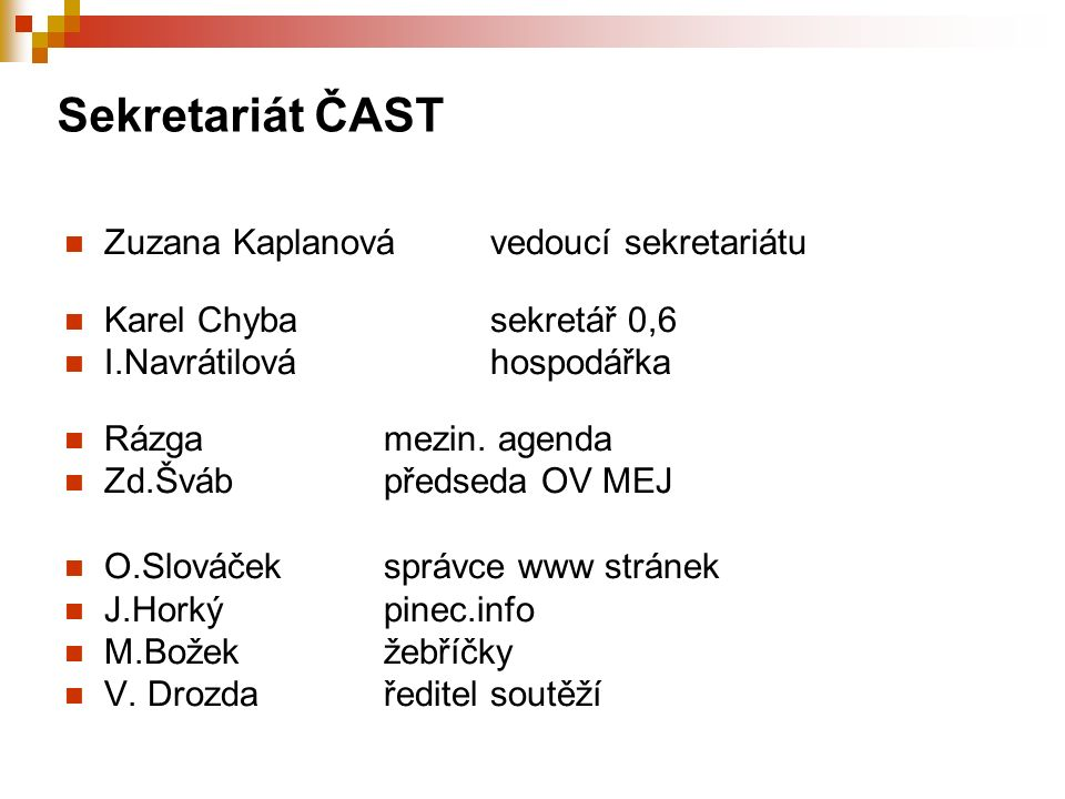 Sekretariát ČAST Zuzana Kaplanovávedoucí sekretariátu Karel Chybasekretář 0,6 I.Navrátilováhospodářka Rázgamezin.