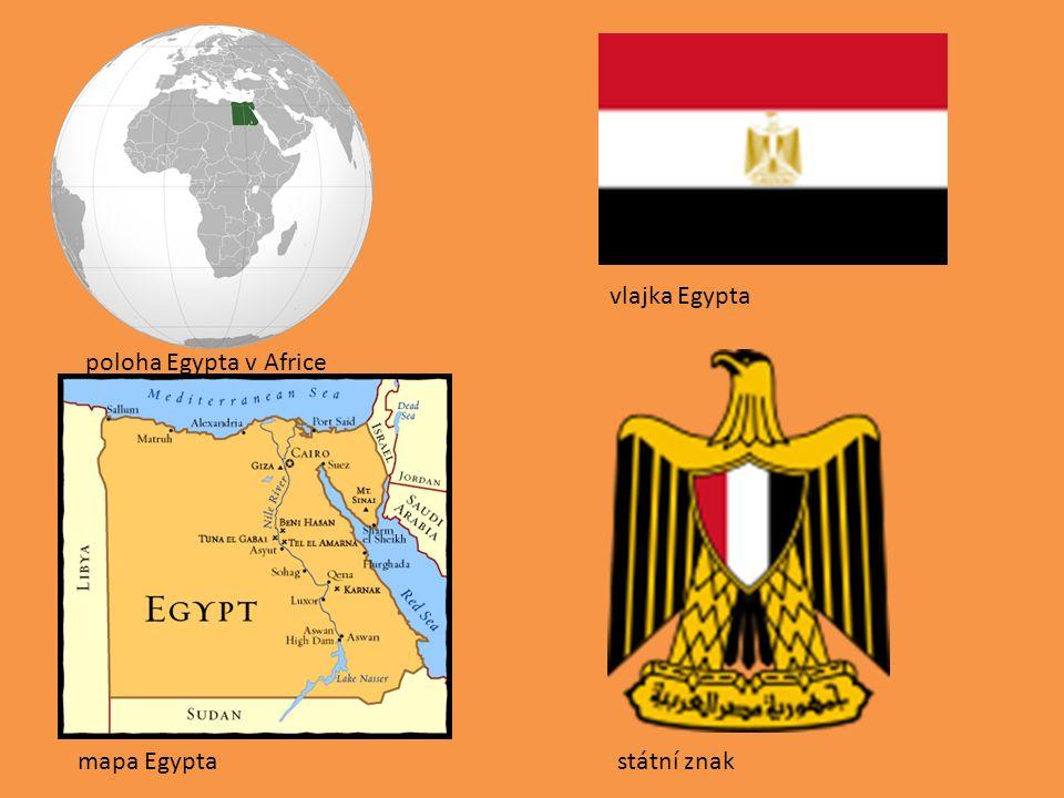 poloha Egypta v Africe mapa Egypta vlajka Egypta státní znak