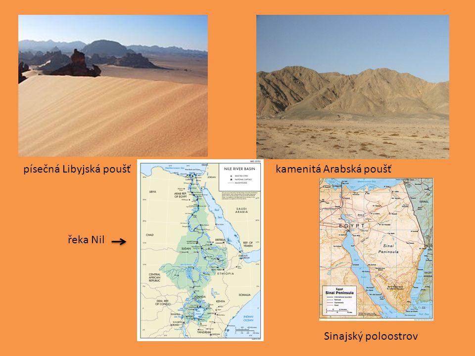 Hospodářství: drsné klimatické podmínky (limitují rozvoj průmyslu a zemědělství) obděláváno pouze 3% plochy(hlavně kolem Nilu a Asuánské přehrady – závlahy) těžba ropy, zemního plynu a fosfátů hlavní zdroj příjmů - turistický ruch, poplatky za průjezd Suezským průplavem