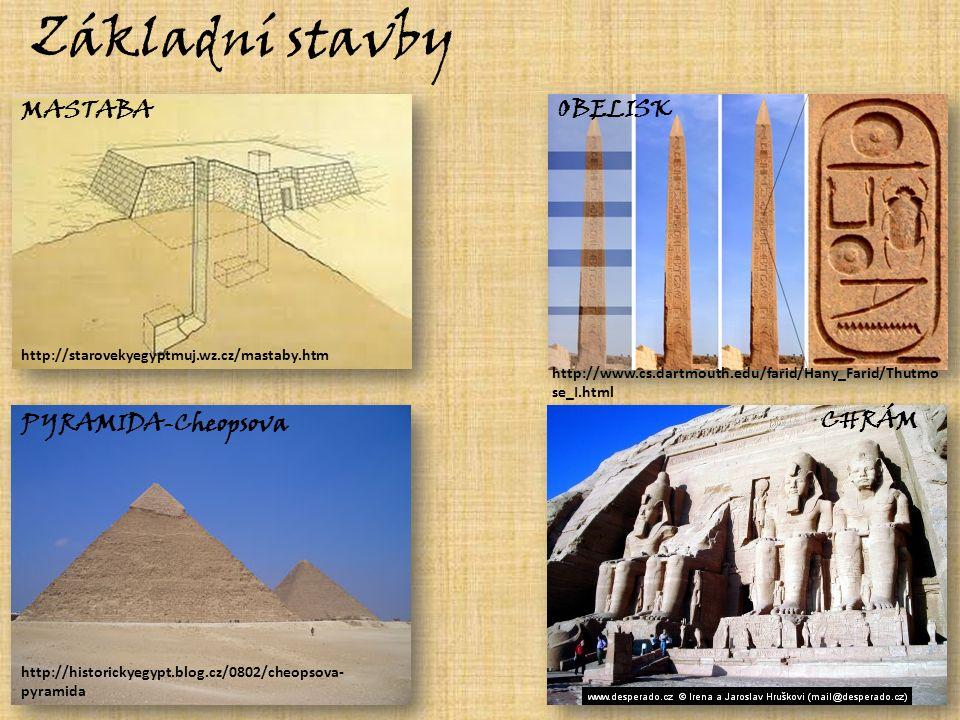 Základní stavby MASTABA CHRÁM OBELISK PYRAMIDA-Cheopsova http://historickyegypt.blog.cz/0802/cheopsova- pyramida http://starovekyegyptmuj.wz.cz/mastaby.htm http://www.cs.dartmouth.edu/farid/Hany_Farid/Thutmo se_I.html