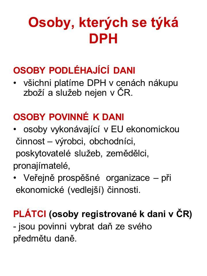 Osoby, kterých se týká DPH OSOBY PODLÉHAJÍCÍ DANI všichni platíme DPH v cenách nákupu zboží a služeb nejen v ČR. OSOBY POVINNÉ K DANI osoby vykonávají