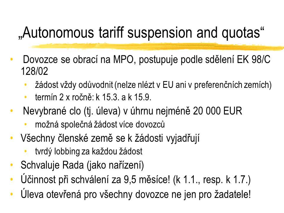 """""""Autonomous tariff suspension and quotas Dovozce se obrací na MPO, postupuje podle sdělení EK 98/C 128/02 žádost vždy odůvodnit (nelze nlézt v EU ani v preferenčních zemích) termín 2 x ročně: k 15.3."""