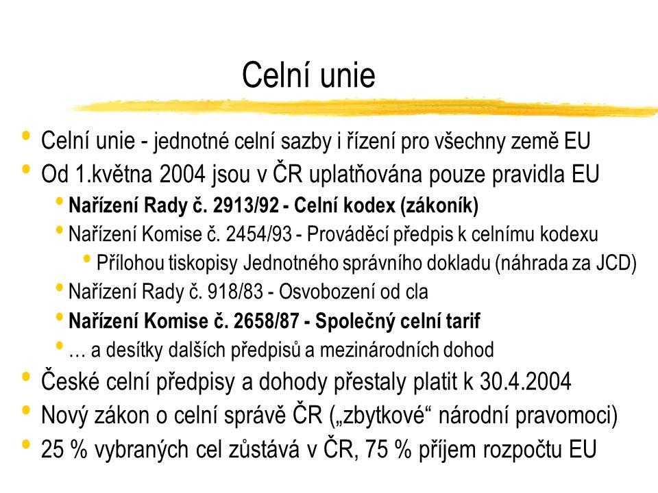Úkoly národní celní správy (ČR) Celní řízení (podle pravidel SOP EU) Intrastat (deklarace o výměně zboží uvnitř EU) Sazební zařazování dováženého zboží (celně technické laboratoře) Mezinárodní spolupráce smlouvy o vzájemné pomoci v celních otázkách, Celní informační systém EU Boj proti celním a daňovým deliktům při dovozu, vývozu a tranzitu včetně organizovaného zločinu (drogy apod.), mezinárodního pohybu zbraní, radioaktivních materiálů a dalšího vojenského materiálu včetně porušování IPR, režimu vývozu chráněných památek, fauny, flory apod.