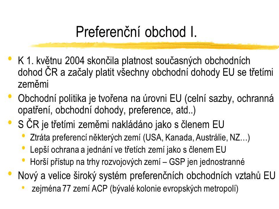 Preferenční obchod I. K 1.