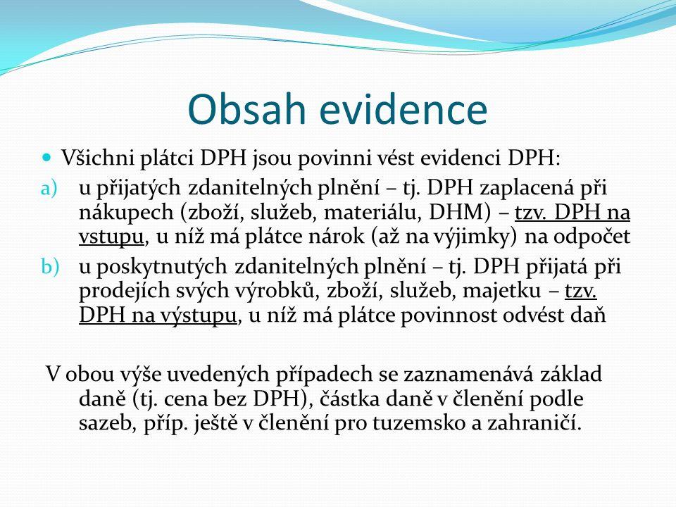 Obsah evidence Všichni plátci DPH jsou povinni vést evidenci DPH: a) u přijatých zdanitelných plnění – tj.