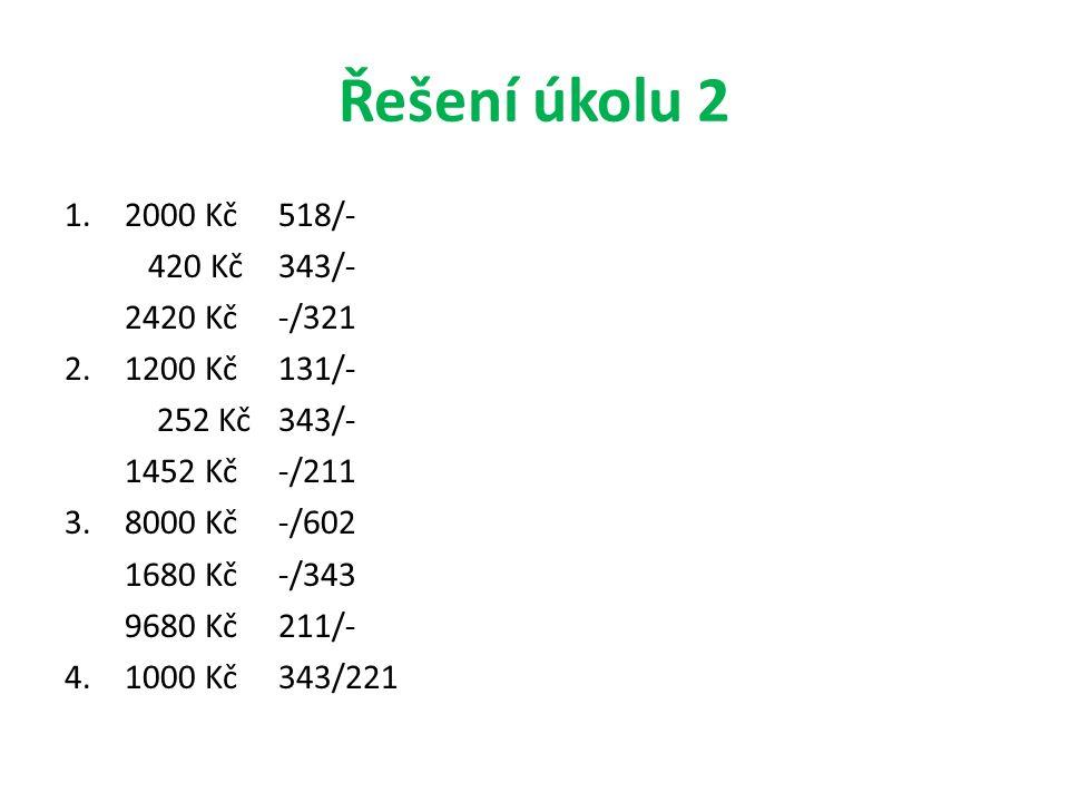 Řešení úkolu 2 1.2000 Kč518/- 420 Kč 343/- 2420 Kč -/321 2.1200 Kč 131/- 252 Kč 343/- 1452 Kč -/211 3.8000 Kč -/602 1680 Kč -/343 9680 Kč 211/- 4.
