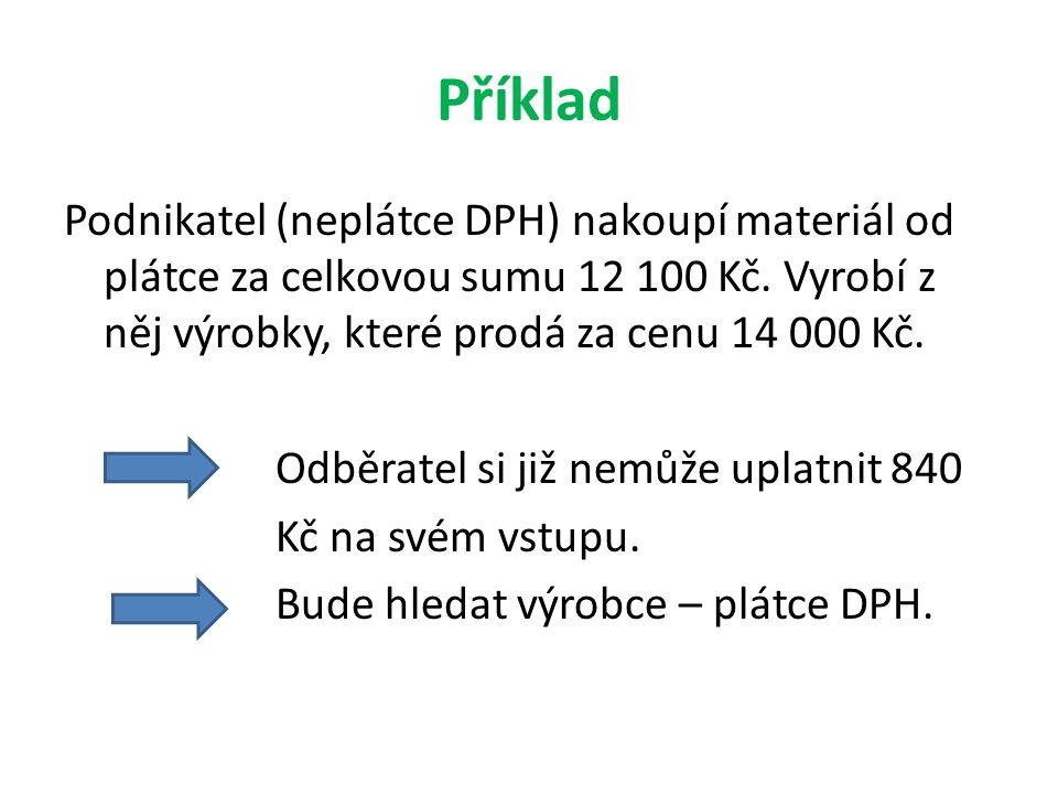 Příklad Podnikatel (neplátce DPH) nakoupí materiál od plátce za celkovou sumu 12 100 Kč.