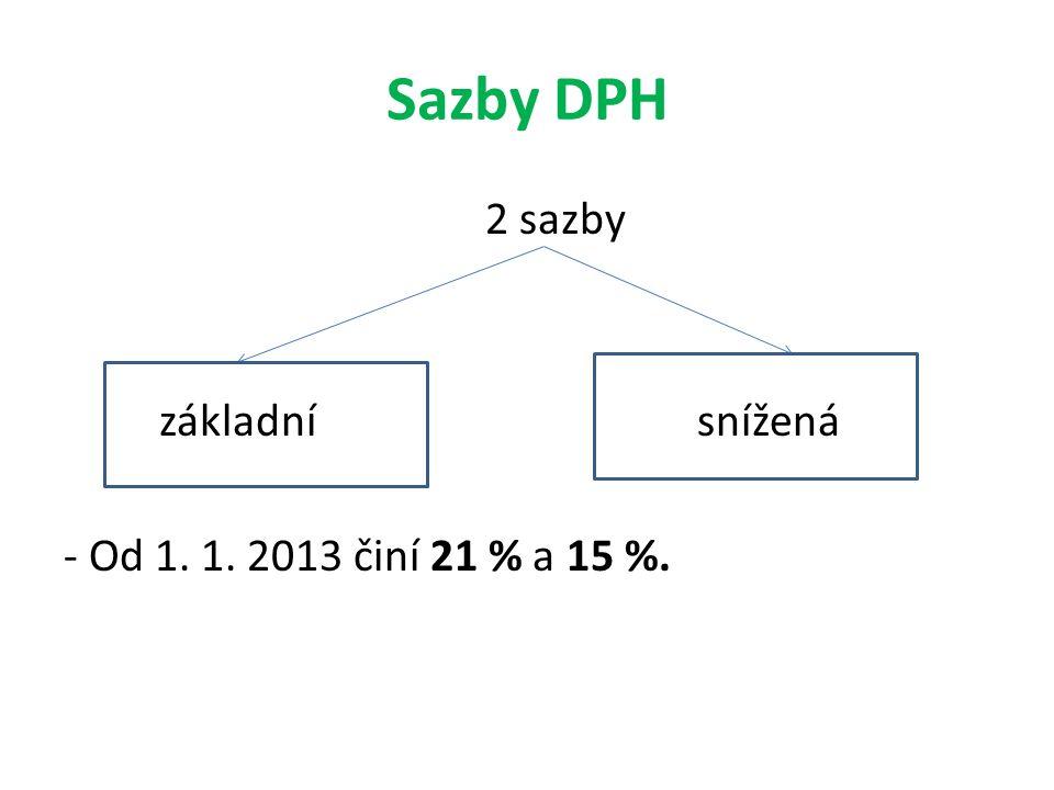 Sazby DPH 2 sazby základní snížená - Od 1. 1. 2013 činí 21 % a 15 %.