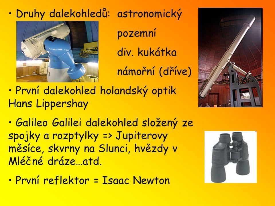 Druhy dalekohledů: astronomický pozemní div. kukátka námořní (dříve) První dalekohled holandský optik Hans Lippershay Galileo Galilei dalekohled slože