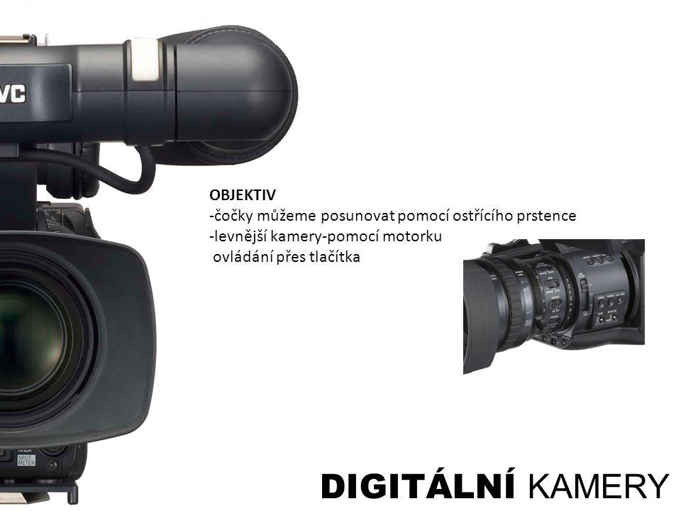 DIGITÁLNÍ KAMERY OBJEKTIV -čočky můžeme posunovat pomocí ostřícího prstence -levnější kamery-pomocí motorku ovládání přes tlačítka