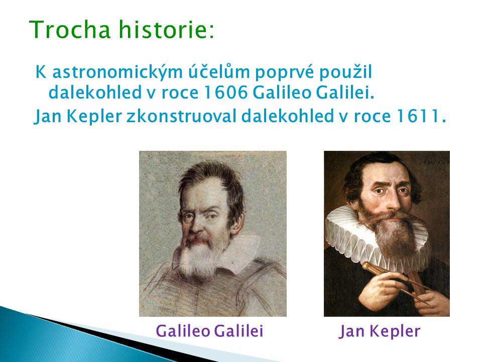 K astronomickým účelům poprvé použil dalekohled v roce 1606 Galileo Galilei. Jan Kepler zkonstruoval dalekohled v roce 1611. Galileo GalileiJan Kepler