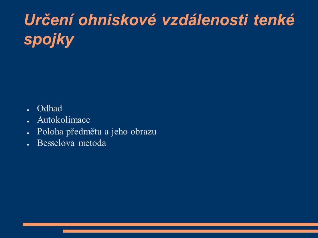 Určení ohniskové vzdálenosti tenké spojky ● Odhad ● Autokolimace ● Poloha předmětu a jeho obrazu ● Besselova metoda