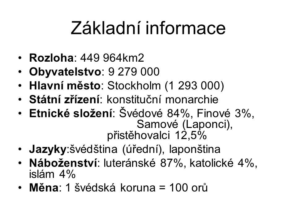 Základní informace Rozloha: 449 964km2 Obyvatelstvo: 9 279 000 Hlavní město: Stockholm (1 293 000) Státní zřízení: konstituční monarchie Etnické složení: Švédové 84%, Finové 3%, Samové (Laponci), přistěhovalci 12,5% Jazyky:švédština (úřední), laponština Náboženství: luteránské 87%, katolické 4%, islám 4% Měna: 1 švédská koruna = 100 orů
