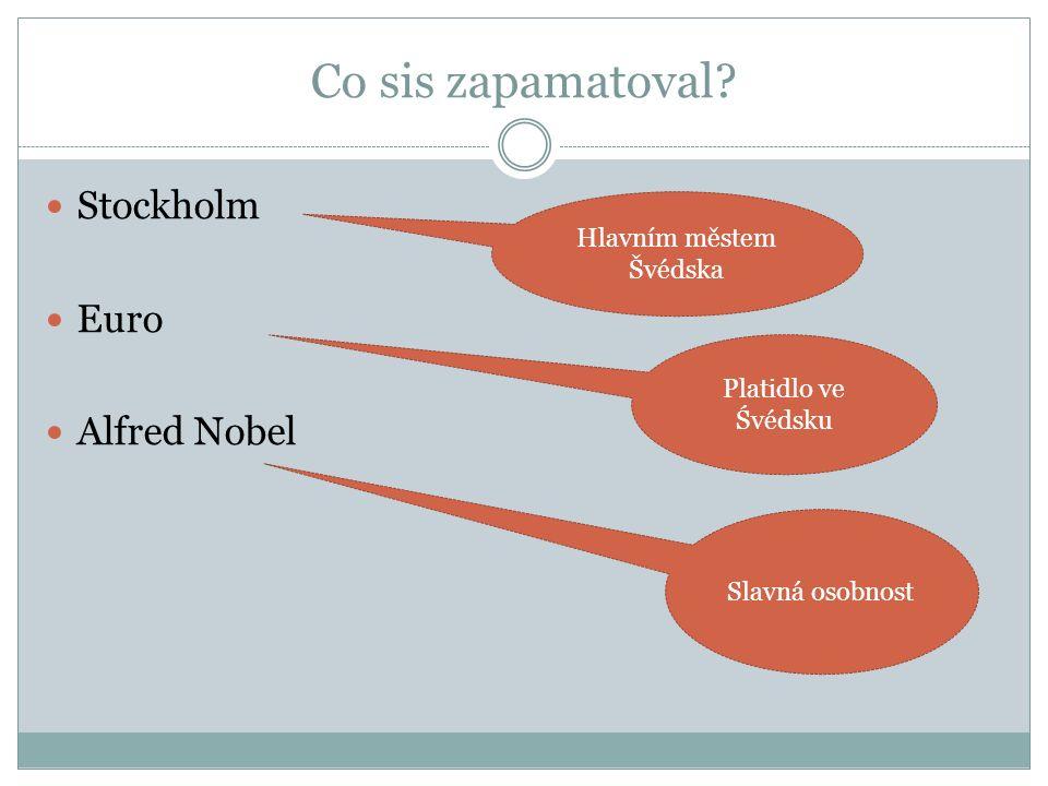 Co sis zapamatoval? Stockholm Euro Alfred Nobel Hlavním městem Švédska Platidlo ve Śvédsku Slavná osobnost