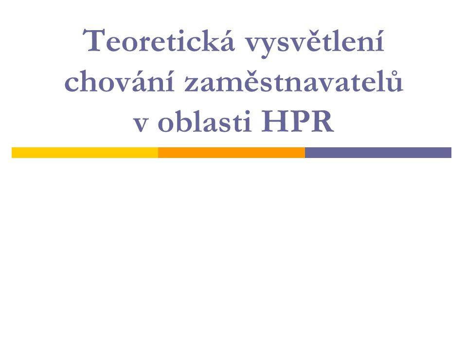 Teoretická vysvětlení chování zaměstnavatelů v oblasti HPR
