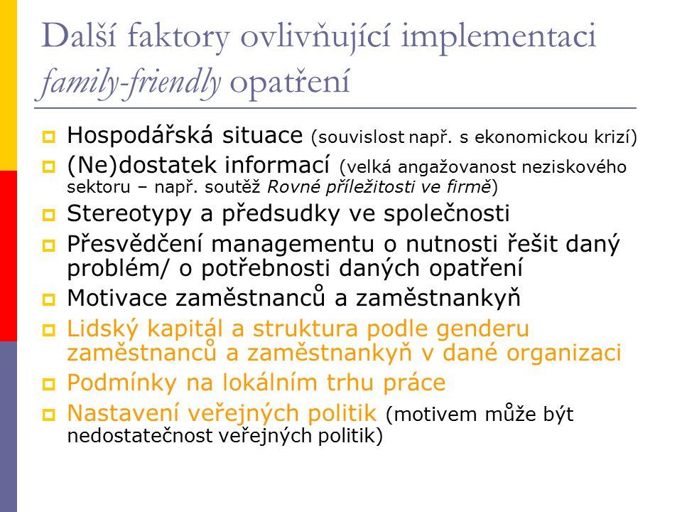 Další faktory ovlivňující implementaci family-friendly opatření  Hospodářská situace (souvislost např. s ekonomickou krizí)  (Ne)dostatek informací
