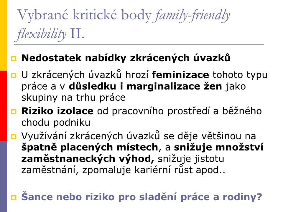 Vybrané kritické body family-friendly flexibility II.  Nedostatek nabídky zkrácených úvazků  U zkrácených úvazků hrozí feminizace tohoto typu práce