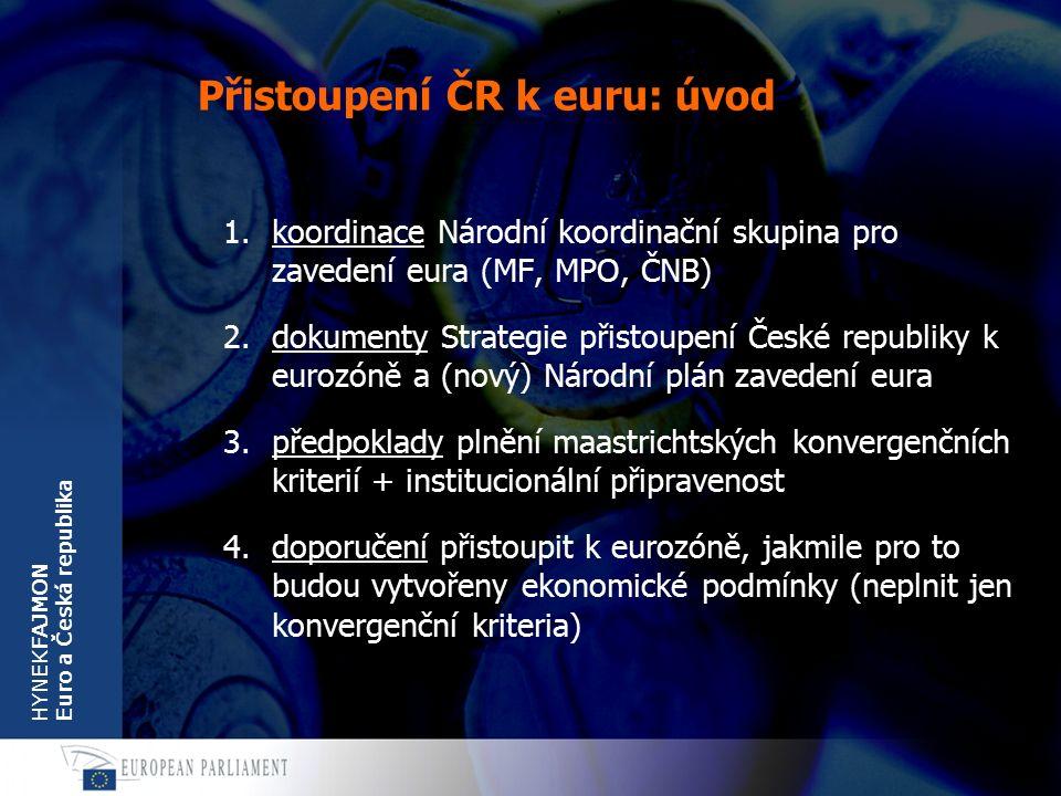 """HYNEKFAJMON Euro a Česká republika Přistoupení ČR k euru: postup 1.nejprve splnit všechna konvergenční kriteria 2.pak dvouleté členství v ERM-II 3.pak okamžitě (metodou """"velkého třesku ) přijmout euro 4.klíčové události vstup do ERM-II rozhodnutí o zavedení eura zavedení eura"""