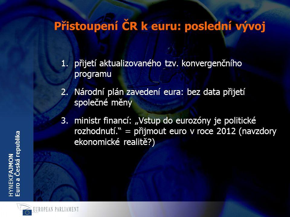 HYNEKFAJMON Euro a Česká republika Přistoupení ČR k euru: poslední vývoj 1.přijetí aktualizovaného tzv.