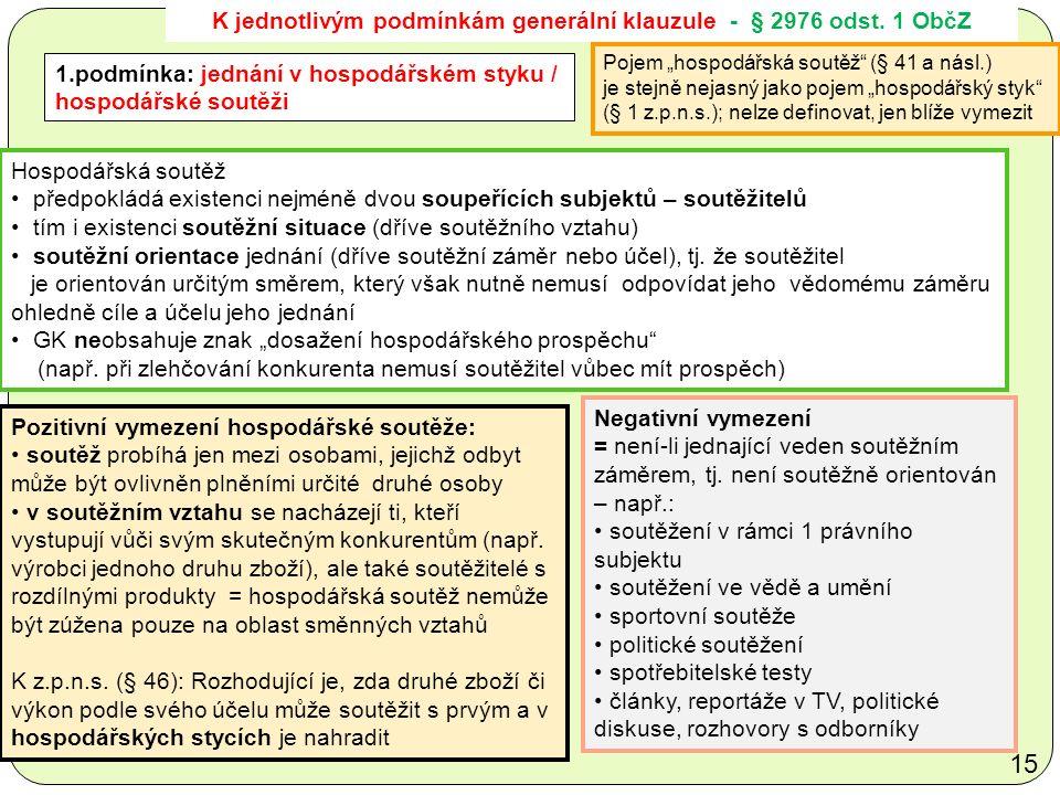 K jednotlivým podmínkám generální klauzule - § 2976 odst.