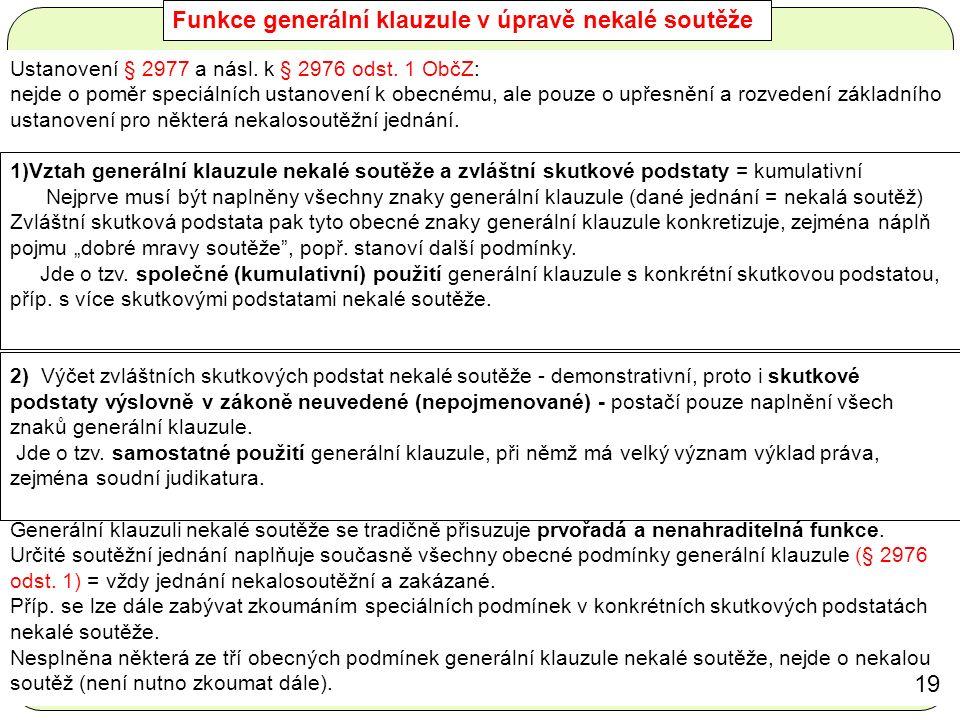 Funkce generální klauzule v úpravě nekalé soutěže Ustanovení § 2977 a násl.