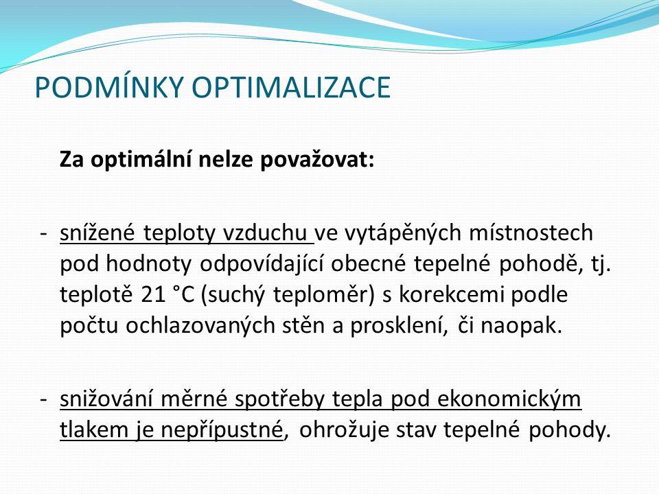 PODMÍNKY OPTIMALIZACE Za optimální nelze považovat: -snížené teploty vzduchu ve vytápěných místnostech pod hodnoty odpovídající obecné tepelné pohodě, tj.