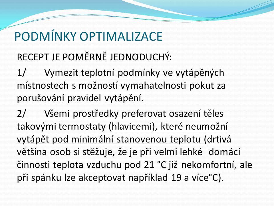 PODMÍNKY OPTIMALIZACE RECEPT JE POMĚRNĚ JEDNODUCHÝ: 1/Vymezit teplotní podmínky ve vytápěných místnostech s možností vymahatelnosti pokut za porušování pravidel vytápění.