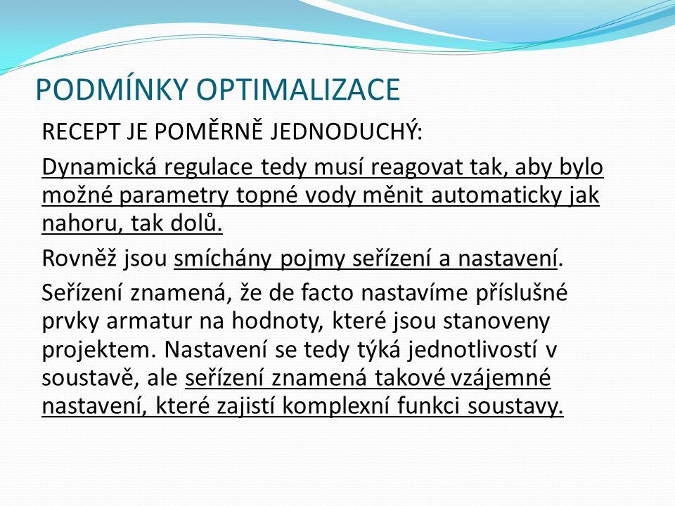 PODMÍNKY OPTIMALIZACE RECEPT JE POMĚRNĚ JEDNODUCHÝ: Dynamická regulace tedy musí reagovat tak, aby bylo možné parametry topné vody měnit automaticky jak nahoru, tak dolů.
