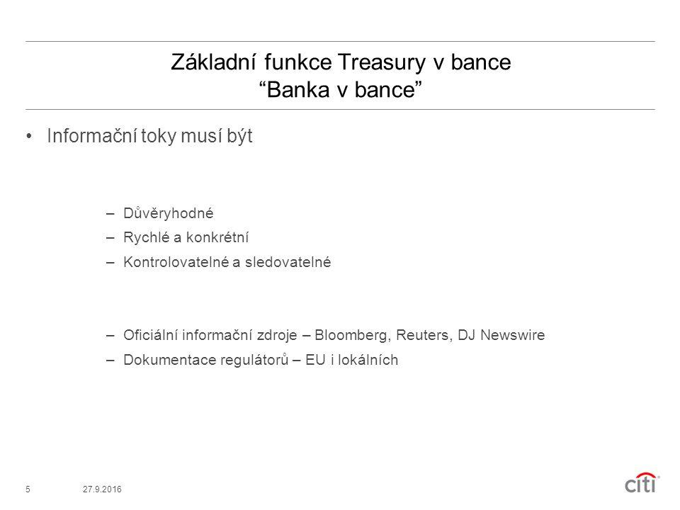 527.9.2016 Základní funkce Treasury v bance Banka v bance Informační toky musí být –Důvěryhodné –Rychlé a konkrétní –Kontrolovatelné a sledovatelné –Oficiální informační zdroje – Bloomberg, Reuters, DJ Newswire –Dokumentace regulátorů – EU i lokálních