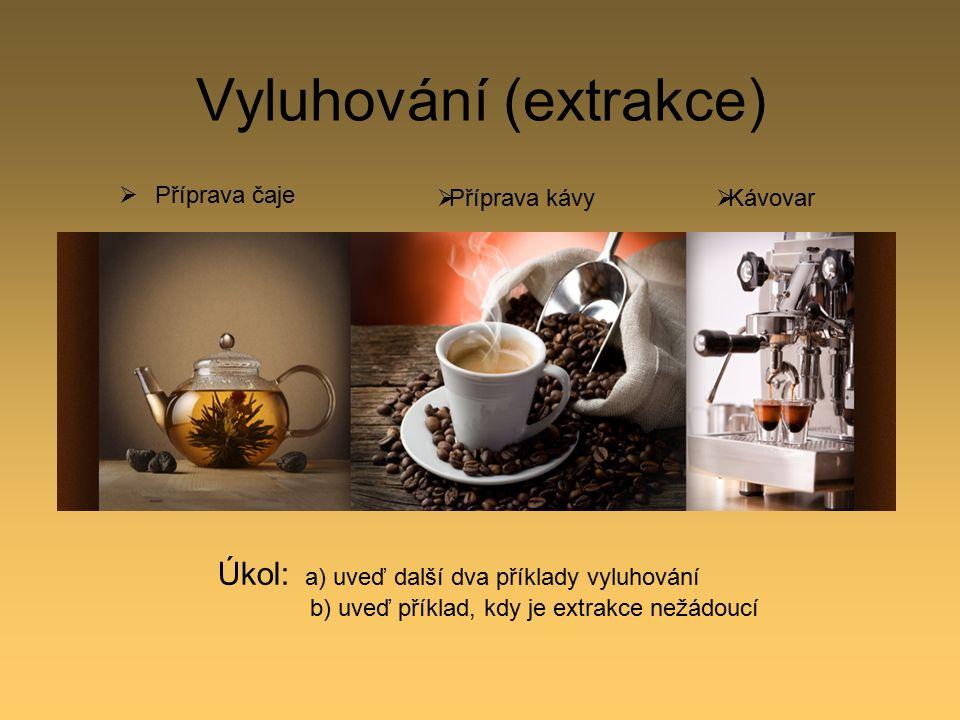 Vyluhování (extrakce)  Příprava čaje  Příprava kávy  Kávovar Úkol: a) uveď další dva příklady vyluhování b) uveď příklad, kdy je extrakce nežádoucí