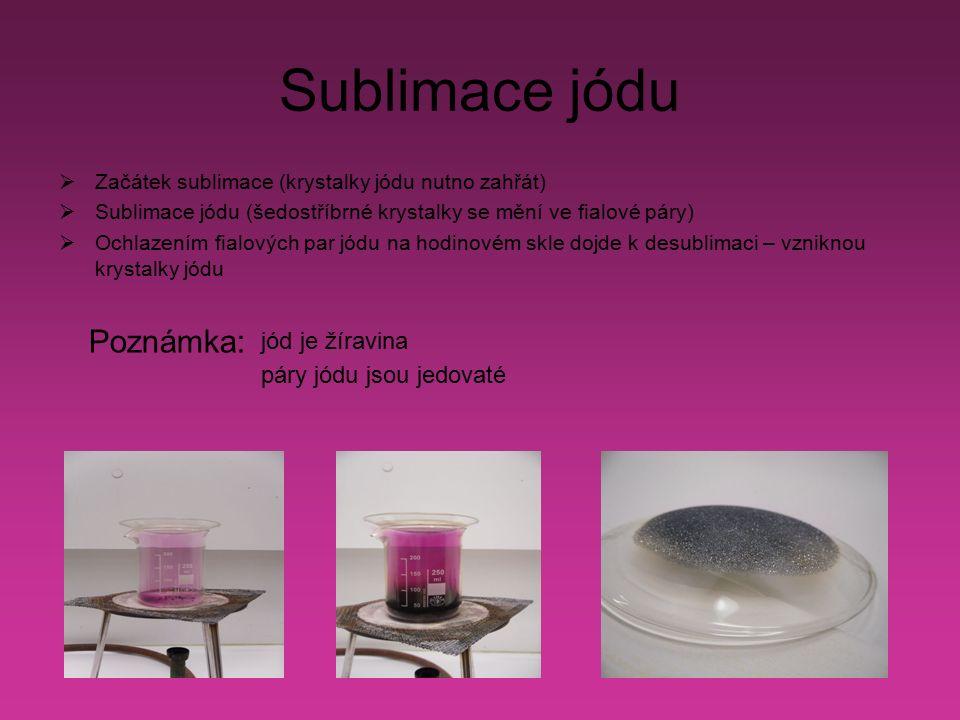 Sublimace jódu  Začátek sublimace (krystalky jódu nutno zahřát)  Sublimace jódu (šedostříbrné krystalky se mění ve fialové páry)  Ochlazením fialových par jódu na hodinovém skle dojde k desublimaci – vzniknou krystalky jódu Poznámka: jód je žíravina páry jódu jsou jedovaté