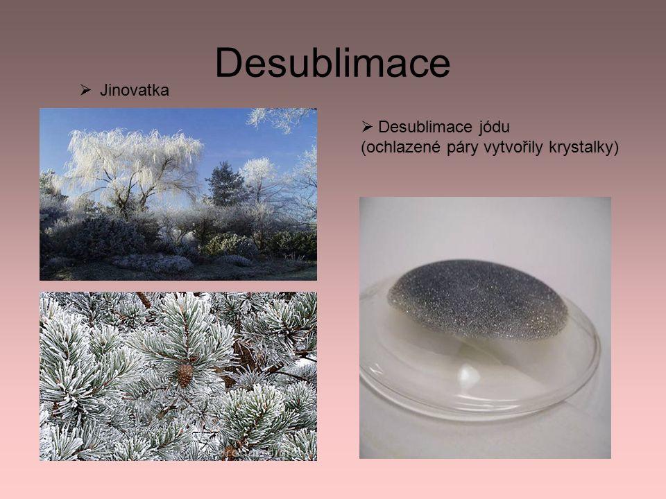 Desublimace  Jinovatka  Desublimace jódu (ochlazené páry vytvořily krystalky)