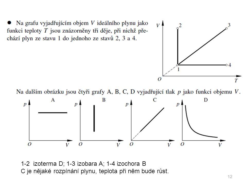 12 1-2 izoterma D; 1-3 izobara A; 1-4 izochora B C je nějaké rozpínání plynu, teplota při něm bude růst.