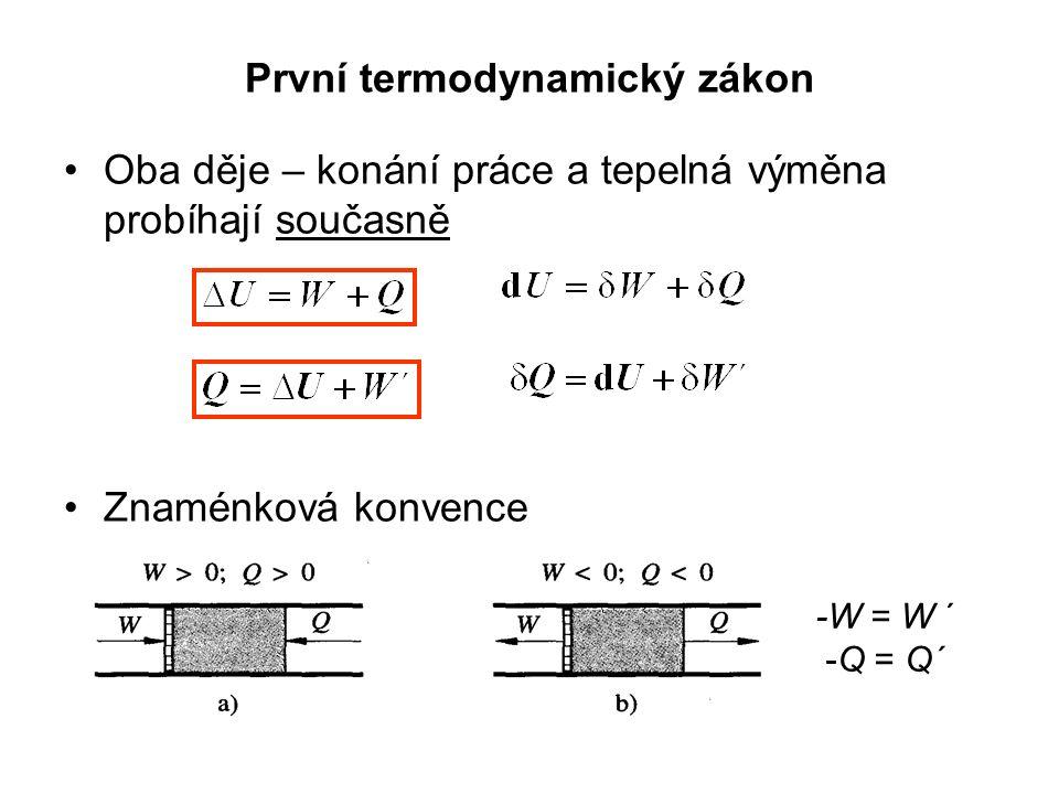 První termodynamický zákon Oba děje – konání práce a tepelná výměna probíhají současně Znaménková konvence -W = W ´ -Q = Q´