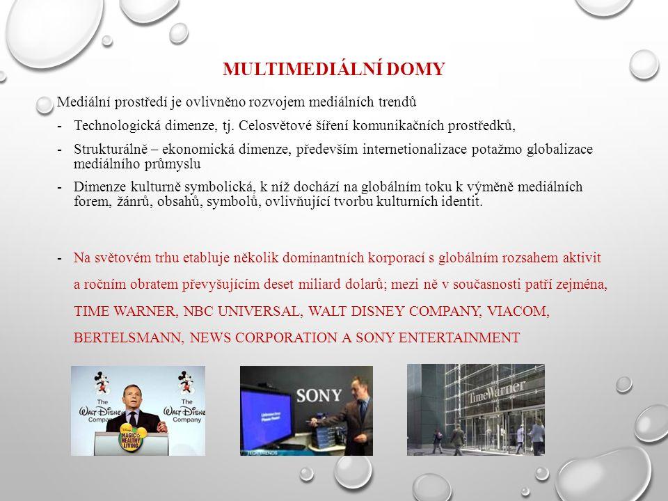 MULTIMEDIÁLNÍ DOMY Mediální prostředí je ovlivněno rozvojem mediálních trendů -Technologická dimenze, tj. Celosvětové šíření komunikačních prostředků,