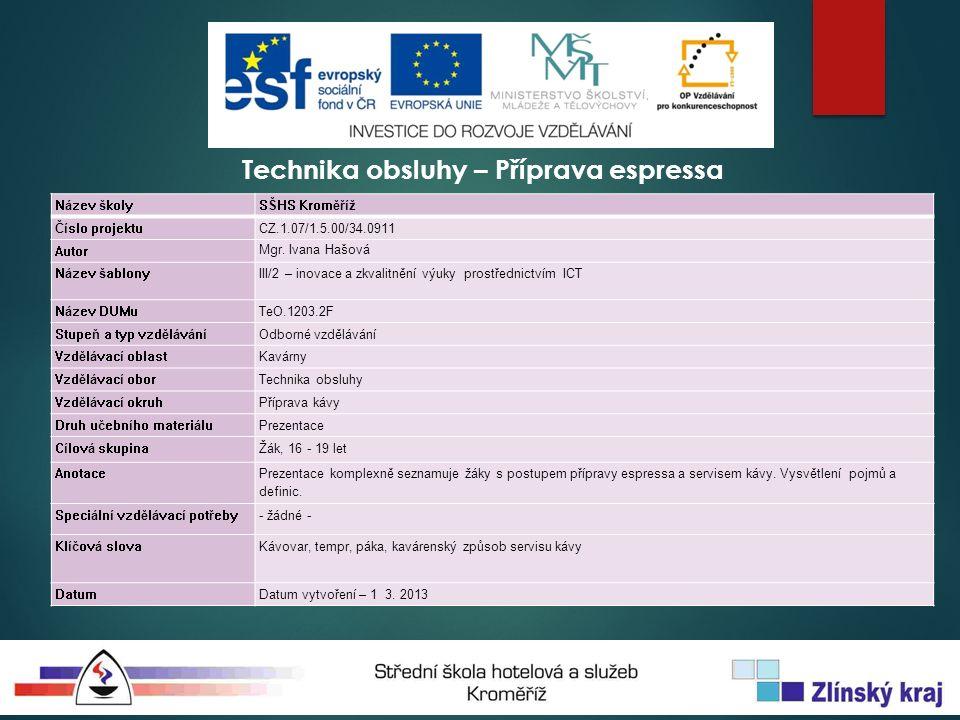 Technika obsluhy – Příprava espressa Název školySŠHS Kroměříž Číslo projektuCZ.1.07/1.5.00/34.0911 Autor Mgr.