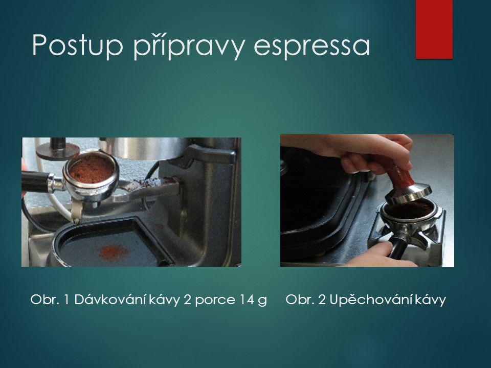 Postup přípravy espressa Obr. 1 Dávkování kávy 2 porce 14 gObr. 2 Upěchování kávy
