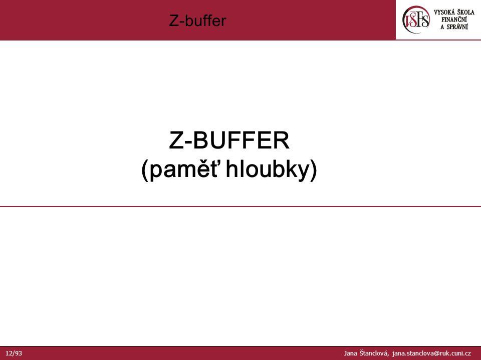 Z-buffer Z-BUFFER (paměť hloubky) 12/93 Jana Štanclová, jana.stanclova@ruk.cuni.cz