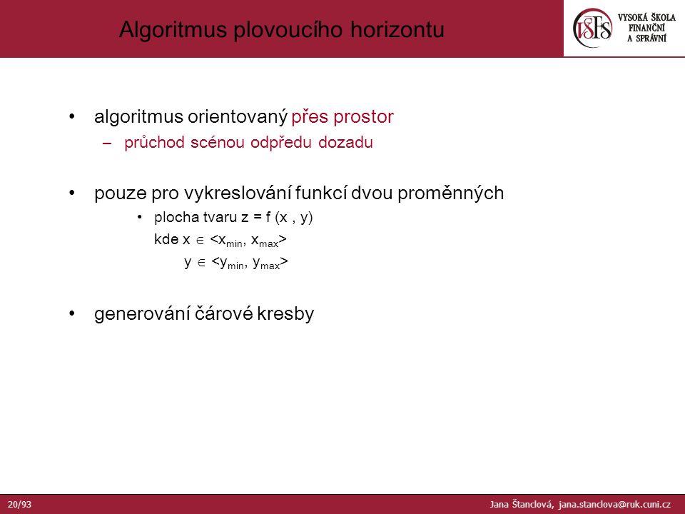 algoritmus orientovaný přes prostor –průchod scénou odpředu dozadu pouze pro vykreslování funkcí dvou proměnných plocha tvaru z = f (x, y) kde x  y  generování čárové kresby Algoritmus plovoucího horizontu 20/93 Jana Štanclová, jana.stanclova@ruk.cuni.cz