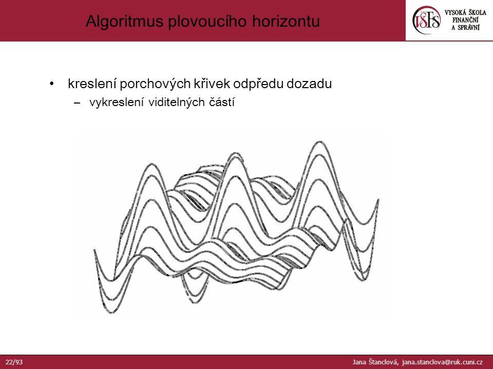 kreslení porchových křivek odpředu dozadu –vykreslení viditelných částí Algoritmus plovoucího horizontu 22/93 Jana Štanclová, jana.stanclova@ruk.cuni.cz