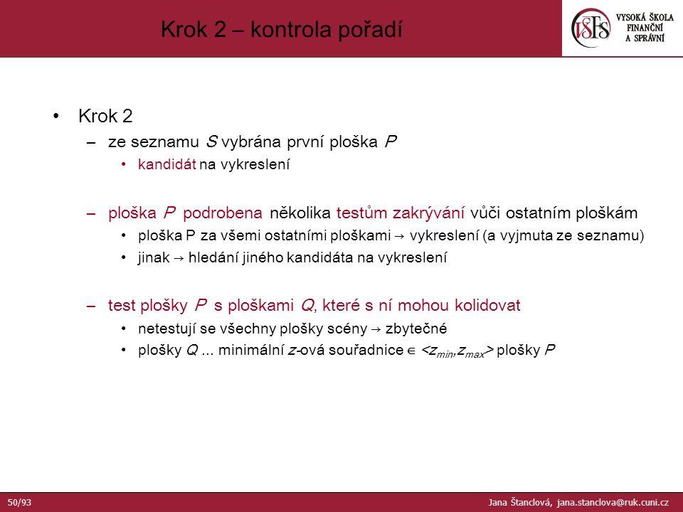 Krok 2 –ze seznamu S vybrána první ploška P kandidát na vykreslení –ploška P podrobena několika testům zakrývání vůči ostatním ploškám ploška P za všemi ostatními ploškami → vykreslení (a vyjmuta ze seznamu) jinak → hledání jiného kandidáta na vykreslení –test plošky P s ploškami Q, které s ní mohou kolidovat netestují se všechny plošky scény → zbytečné plošky Q...