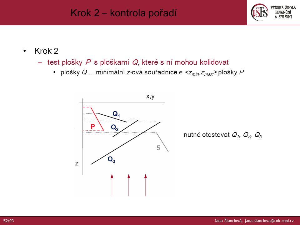 Krok 2 –test plošky P s ploškami Q, které s ní mohou kolidovat plošky Q...
