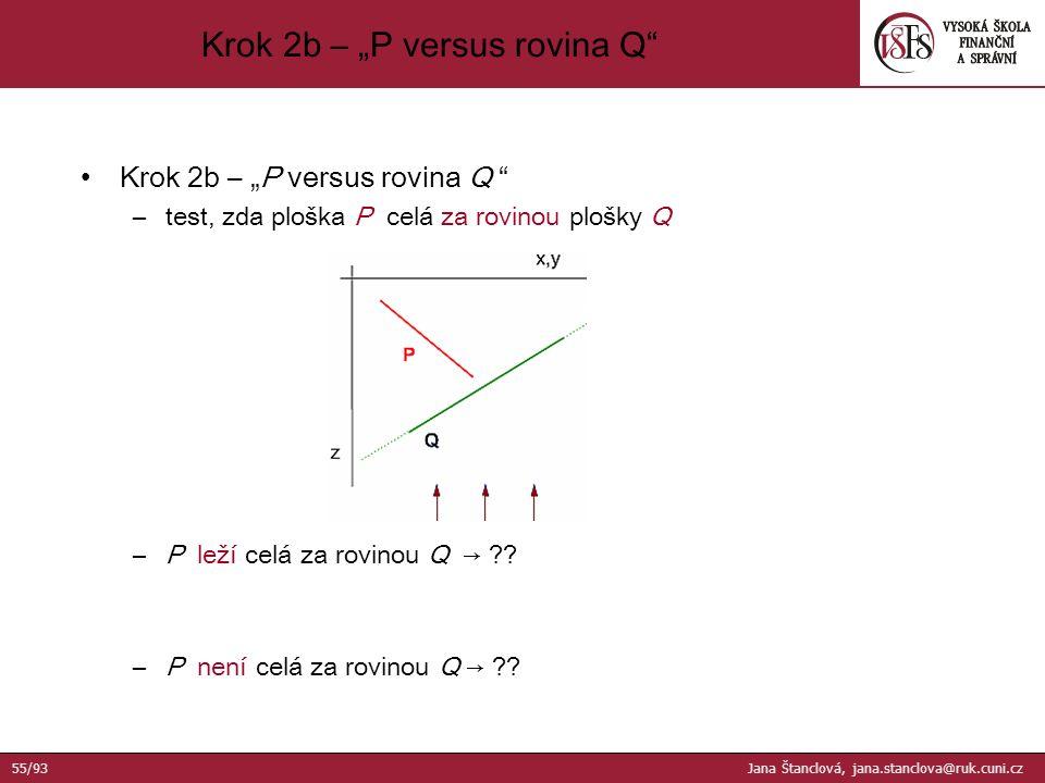 "Krok 2b – ""P versus rovina Q –test, zda ploška P celá za rovinou plošky Q –P leží celá za rovinou Q → ?."