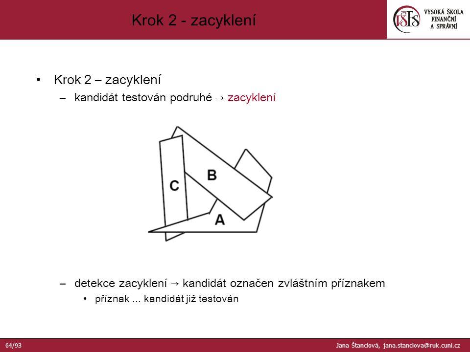 Krok 2 – zacyklení –kandidát testován podruhé → zacyklení –detekce zacyklení → kandidát označen zvláštním příznakem příznak...