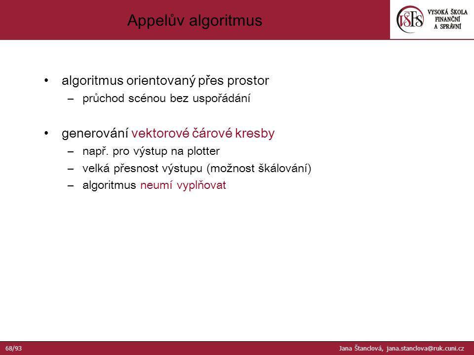 algoritmus orientovaný přes prostor –průchod scénou bez uspořádání generování vektorové čárové kresby –např.