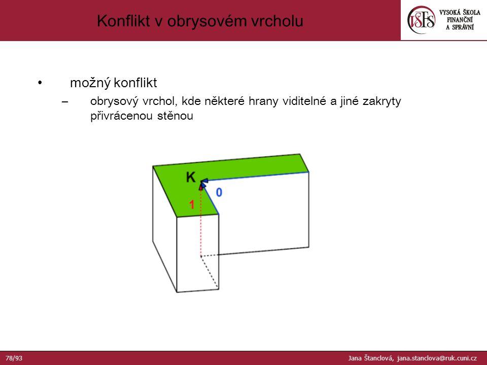 možný konflikt –obrysový vrchol, kde některé hrany viditelné a jiné zakryty přivrácenou stěnou Konflikt v obrysovém vrcholu 78/93 Jana Štanclová, jana.stanclova@ruk.cuni.cz
