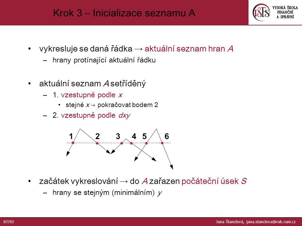 vykresluje se daná řádka → aktuální seznam hran A –hrany protínající aktuální řádku aktuální seznam A setříděný –1.