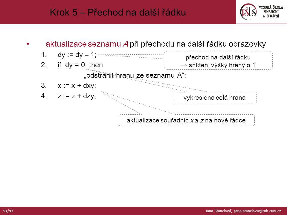 """aktualizace seznamu A při přechodu na další řádku obrazovky 1.dy := dy – 1; 2.if dy = 0 then """"odstranit hranu ze seznamu A ; 3.x := x + dxy; 4.z := z + dzy; přechod na další řádku → snížení výšky hrany o 1 vykreslena celá hrana aktualizace souřadnic x a z na nové řádce Krok 5 – Přechod na další řádku 91/93 Jana Štanclová, jana.stanclova@ruk.cuni.cz"""