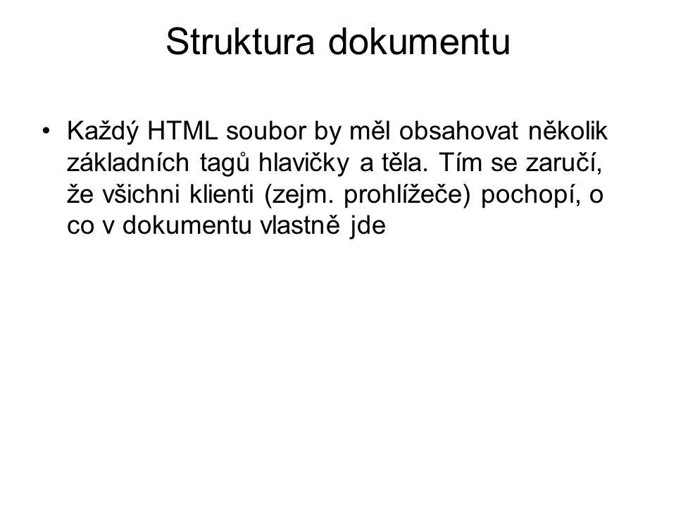 Struktura dokumentu Každý HTML soubor by měl obsahovat několik základních tagů hlavičky a těla.